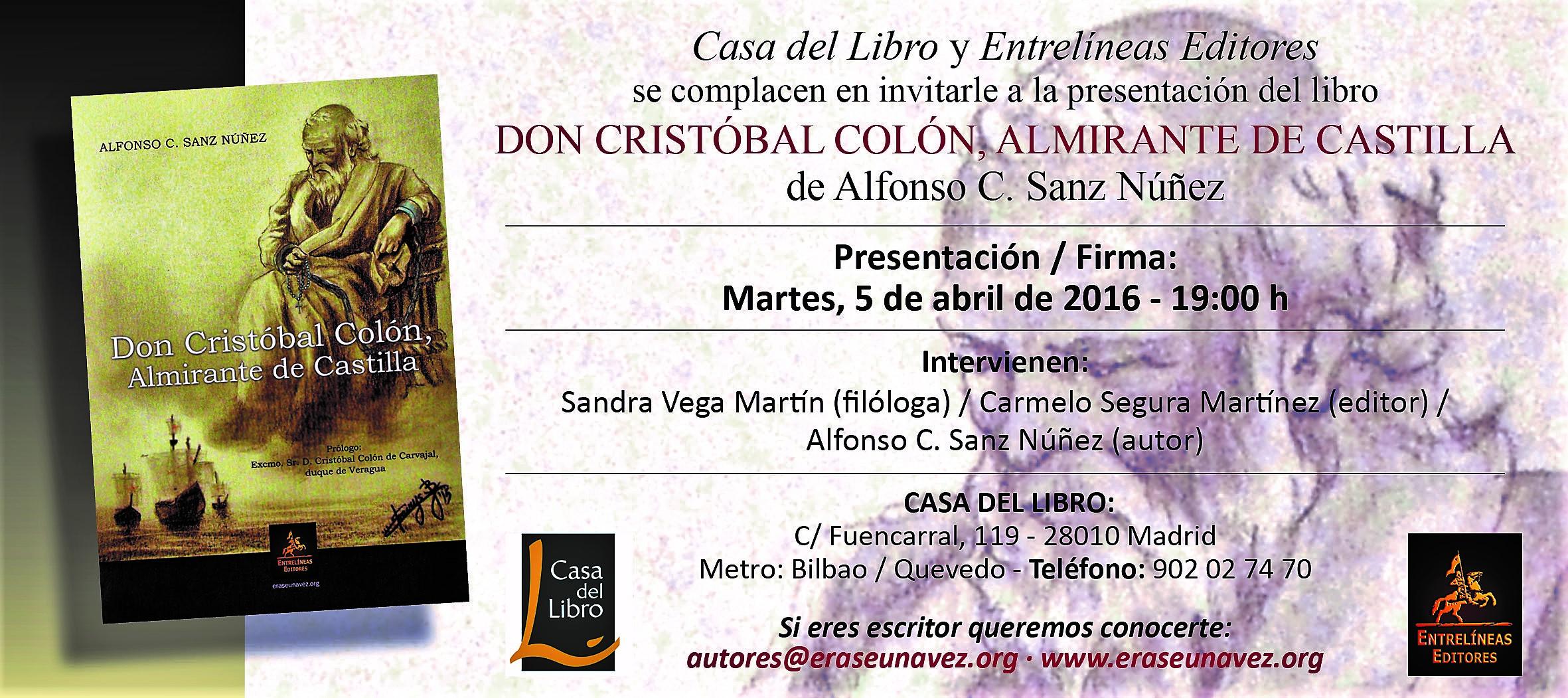 Invitacion Don Cristóbal Colón. Casa del Libro. 050416