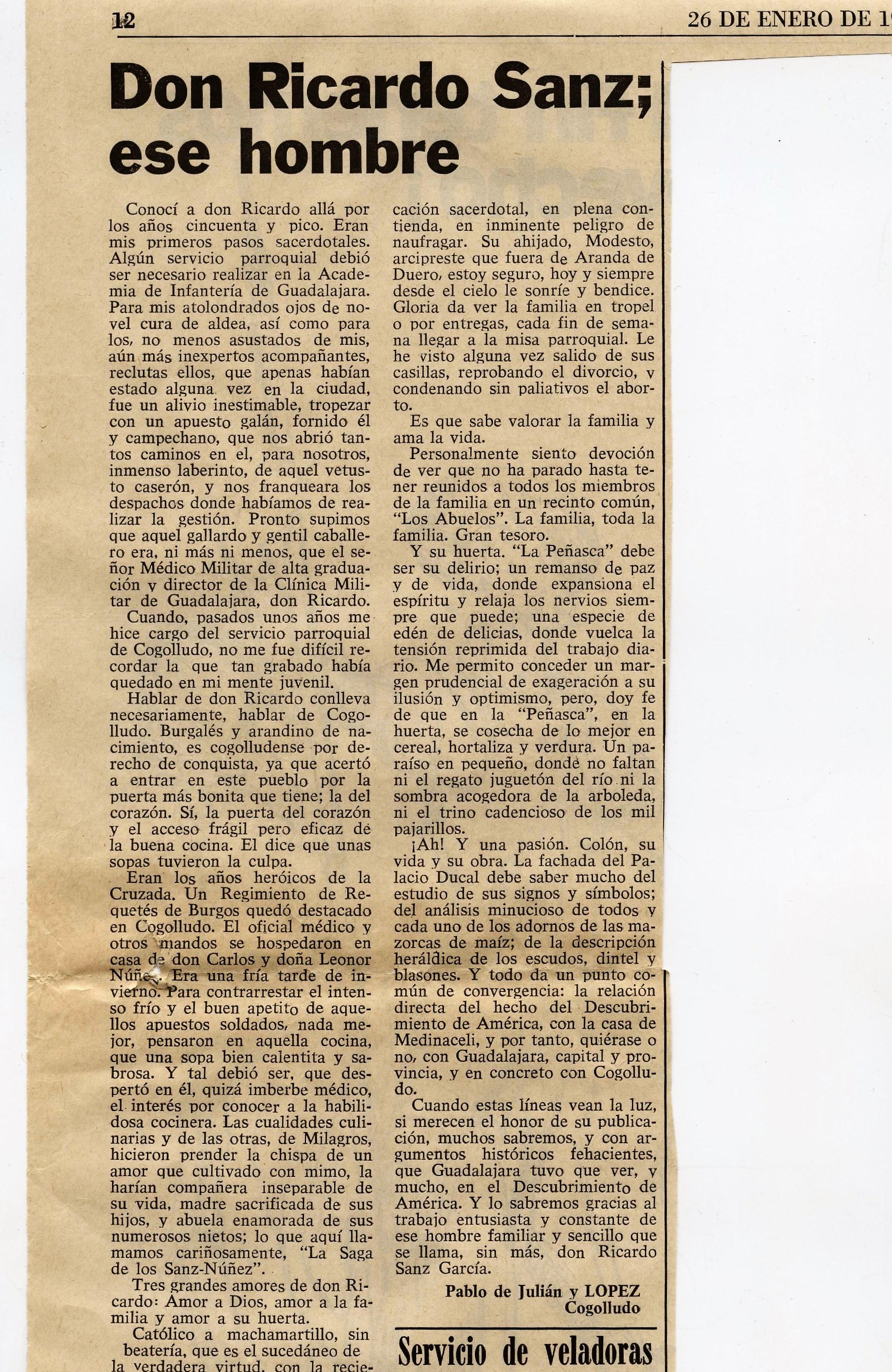 Don Ricardo Sanz, ese hombre 26.01.1980